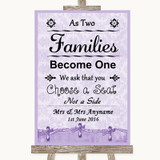 Lilac Shabby Chic As Families Become One Seating Plan Customised Wedding Sign