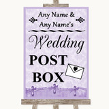 Lilac Shabby Chic Card Post Box Customised Wedding Sign
