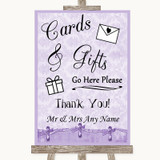Lilac Shabby Chic Cards & Gifts Table Customised Wedding Sign