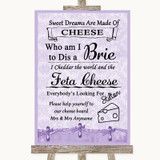 Lilac Shabby Chic Cheese Board Song Customised Wedding Sign