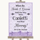 Lilac Shabby Chic Confetti Customised Wedding Sign
