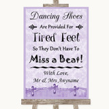 Lilac Shabby Chic Dancing Shoes Flip-Flop Tired Feet Customised Wedding Sign