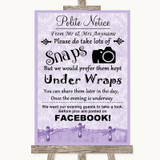 Lilac Shabby Chic Don't Post Photos Facebook Customised Wedding Sign