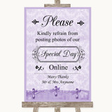 Lilac Shabby Chic Don't Post Photos Online Social Media Wedding Sign