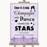 Lilac Shabby Chic Drink Champagne Dance Stars Customised Wedding Sign