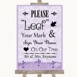Lilac Shabby Chic Fingerprint Tree Instructions Customised Wedding Sign