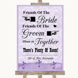 Lilac Shabby Chic Friends Of The Bride Groom Seating Customised Wedding Sign