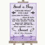Lilac Shabby Chic Grab A Bag Candy Buffet Cart Sweets Customised Wedding Sign