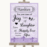 Lilac Shabby Chic Hankies And Tissues Customised Wedding Sign