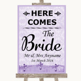 Lilac Shabby Chic Here Comes Bride Aisle Sign Customised Wedding Sign