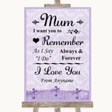 Lilac Shabby Chic I Love You Message For Mum Customised Wedding Sign