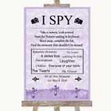 Lilac Shabby Chic I Spy Disposable Camera Customised Wedding Sign