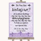 Lilac Shabby Chic Instagram Photo Sharing Customised Wedding Sign