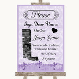 Lilac Shabby Chic Jenga Guest Book Customised Wedding Sign