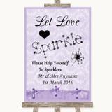 Lilac Shabby Chic Let Love Sparkle Sparkler Send Off Customised Wedding Sign