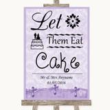 Lilac Shabby Chic Let Them Eat Cake Customised Wedding Sign