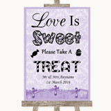 Lilac Shabby Chic Love Is Sweet Take A Treat Candy Buffet Wedding Sign