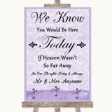 Lilac Shabby Chic Loved Ones In Heaven Customised Wedding Sign