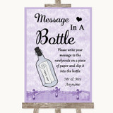 Lilac Shabby Chic Message In A Bottle Customised Wedding Sign