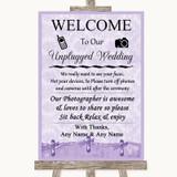 Lilac Shabby Chic No Phone Camera Unplugged Customised Wedding Sign