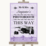 Lilac Shabby Chic Photobooth This Way Left Customised Wedding Sign