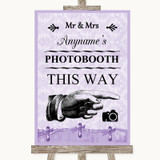 Lilac Shabby Chic Photobooth This Way Right Customised Wedding Sign