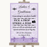 Lilac Shabby Chic Pick A Prop Photobooth Customised Wedding Sign