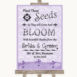 Lilac Shabby Chic Plant Seeds Favours Customised Wedding Sign