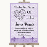 Lilac Shabby Chic Puzzle Piece Guest Book Customised Wedding Sign