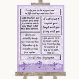Lilac Shabby Chic Romantic Vows Customised Wedding Sign