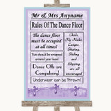 Lilac Shabby Chic Rules Of The Dancefloor Customised Wedding Sign