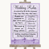 Lilac Shabby Chic Rules Of The Wedding Customised Wedding Sign