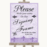 Lilac Shabby Chic Signing Frame Guestbook Customised Wedding Sign