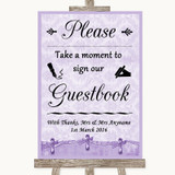 Lilac Shabby Chic Take A Moment To Sign Our Guest Book Customised Wedding Sign
