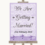 Lilac Shabby Chic We Are Getting Married Customised Wedding Sign