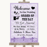 Lilac Shabby Chic Welcome Order Of The Day Customised Wedding Sign