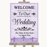 Lilac Shabby Chic Welcome To Our Wedding Customised Wedding Sign