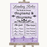 Lilac Shabby Chic Who's Who Leading Roles Customised Wedding Sign