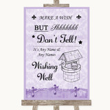 Lilac Shabby Chic Wishing Well Message Customised Wedding Sign