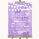 Lilac Watercolour Lights In Loving Memory Customised Wedding Sign