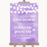Lilac Watercolour Lights In Our Thoughts Customised Wedding Sign