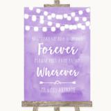 Lilac Watercolour Lights Informal No Seating Plan Customised Wedding Sign