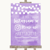 Lilac Watercolour Lights Instagram Hashtag Customised Wedding Sign