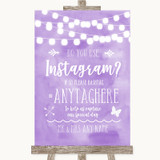 Lilac Watercolour Lights Instagram Photo Sharing Customised Wedding Sign