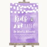 Lilac Watercolour Lights Kids Table Customised Wedding Sign