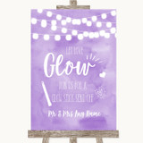 Lilac Watercolour Lights Let Love Glow Glowstick Customised Wedding Sign