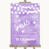 Lilac Watercolour Lights Let Love Sparkle Sparkler Send Off Wedding Sign