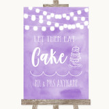 Lilac Watercolour Lights Let Them Eat Cake Customised Wedding Sign