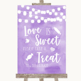 Lilac Watercolour Lights Love Is Sweet Take A Treat Candy Buffet Wedding Sign