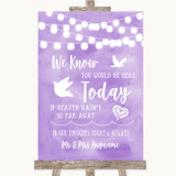 Lilac Watercolour Lights Loved Ones In Heaven Customised Wedding Sign